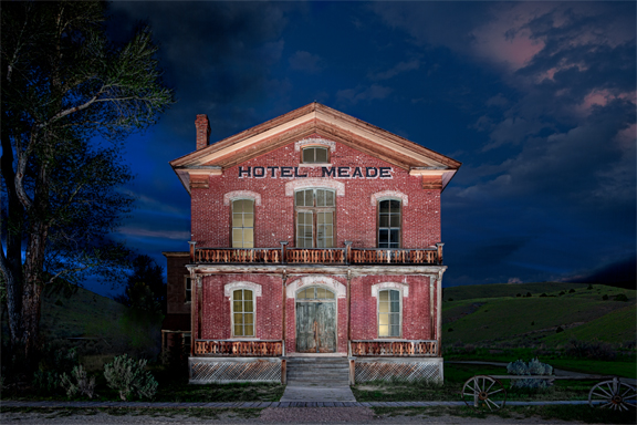 light painting of ghost town hotel